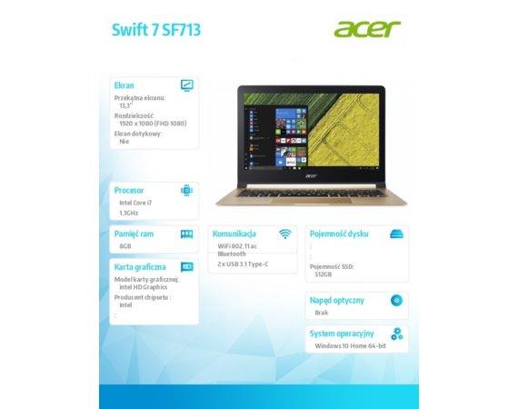Acer Notebook Swift 7 SF713-51-M51W REPACK WIN10/i7-7Y75/8GB/512SSD/IPS/13.3 FHD/Gold