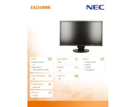 NEC Monitor 23 EA234WMi IPS W-LED, DisplayPort, DVID Czarny