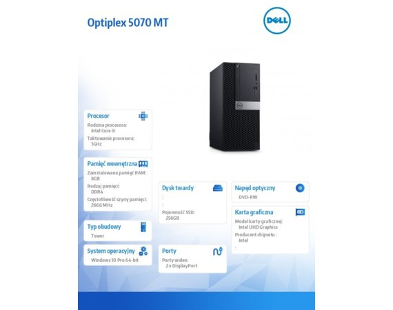 Dell Komputer Optiplex 5070 MT W10Pro i5-9500/8GB/256GB SSD/Intel UHD 630/DVD RW/KB216 & MS116/260W/3Y BWOS