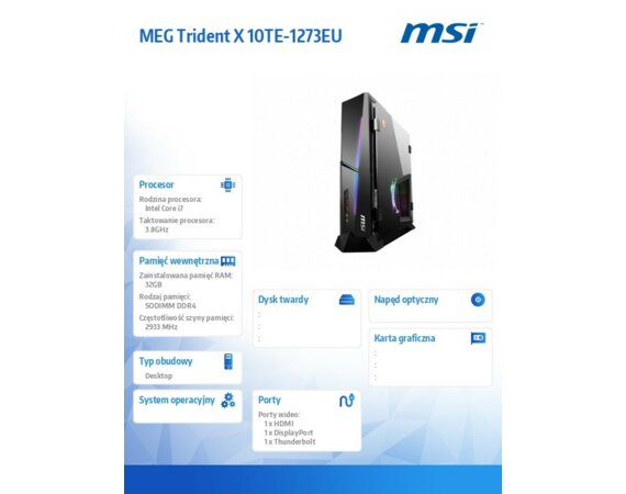 MSI Mini PC MEG TridentX 10TE-1273EU/WIN10H/i7-10700K/32GB/1T/RTX3080