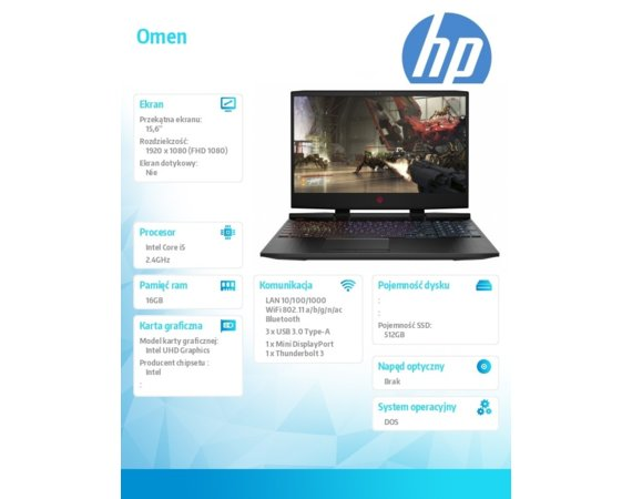 HP Inc. Notebook OMEN 15-dc1057nw i5-9300H 512/16/DOS/15,6  7QB65EA