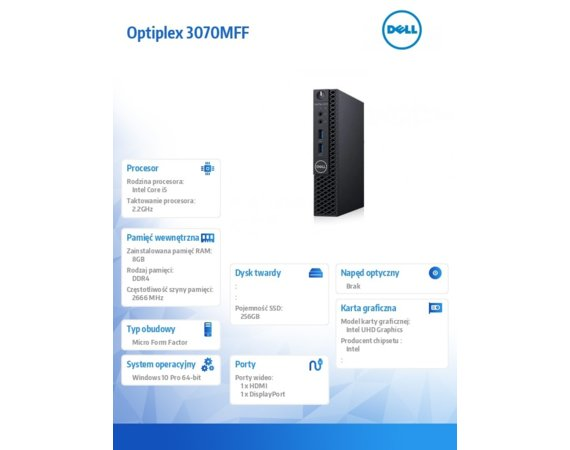 Dell Komputer Optiplex 3070 MFF W10Pro i5-9500T/8GB/256GB SSD/Intel UHD 630/WLAN + BT/KB216 & MS116/3Y BWOS