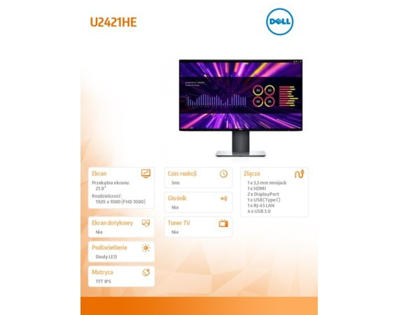 "Dell Monitor U2421HE  23,8""  IPS LED Full HD (1920x1080) /16:9/HDM/2xDP/USB-C/4xUSB 3.0/RJ-45/3Y PPG"