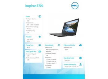 "Dell Inspiron 5770 Win10Home i7-8550U/256GB/16GB/DVDRW/AMD Radeon 530/17.3""FHD/42WHR/Black/1Y NBD+1Y CAR"