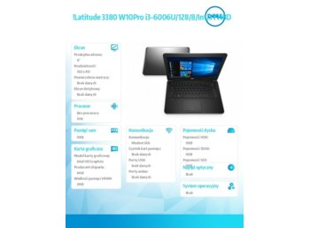 "Dell Latitude 3380 Win10Pro i3-6006U/128GB/8GB/Int/15.6""HD/56WHR/3YNBD"