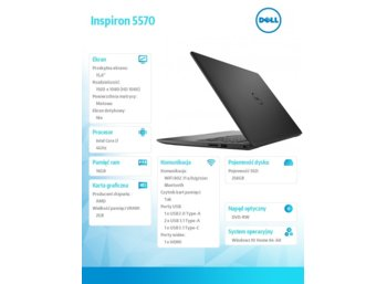 "Dell Inspiron 5570 Win10Home i7-8550U/256GB/2TB/16GB/AMD Radeon 530/15.6""FHD/42WHR/Black/1YNBD + 1 Y CAR"