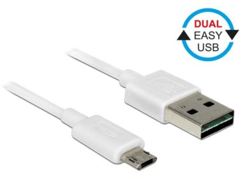 Delock Kabel USB micro AM-BM 2.0 3m biały Dual Easy USB
