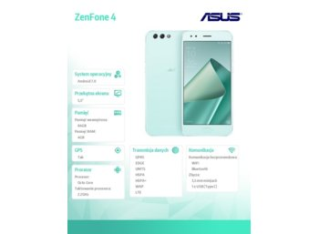 Asus ZE554KL-1N010WW SDM630/4/128/DS/8MP/12MP ZIELONY