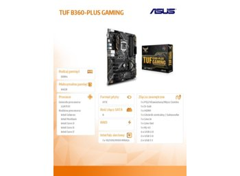 Asus TUF B360-PLUS GAMING 4DDR4 HDMI/Dsub/M.2 ATX
