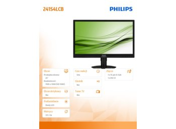 Philips Monitor 24 241S4LCB LED DVI Pivot Czarny
