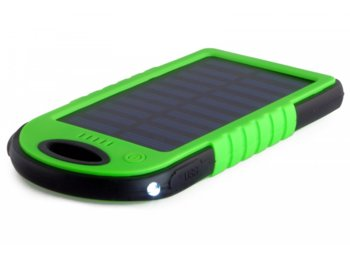 SUNEN PowerNeed - Powerbank 5000mAh  z panelem solarnym 1.2W, USB 5V, 1A, Li-Poly, LED, zielony
