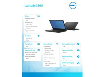 "Dell Latitude 3560 Linux i3-5005U/500GB/4GB/Integrated/15.6""HD/KB-Backlit/40WHR/3Y NBD"