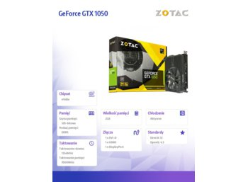 ZOTAC GeForce GTX 1050 2GB DDR5 128BT DP/HDMI/DVI-D/HDCP