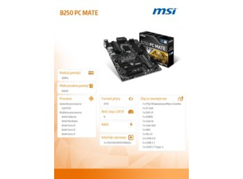 MSI B250 PC MATE s1151 B250 4DDR4 2M.2/8USB3.1 ATX