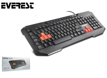 EVEREST KB-961 Czarna US Gaming WSAD  Multimedialna