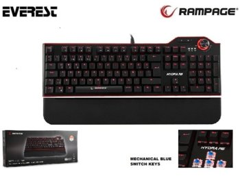 EVEREST Rampage Hydra R6 Czarna LED Mechanical Blue Switch