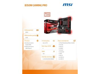MSI B350M GAMING PRO A4 B350 4DDR4 6USB3/HDMI uATX