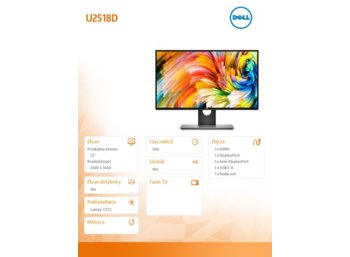 Dell 25'' U2518D LED Pivot/Anti-Glare/16:9/2560x1440/DP1.2/mDP1.2/HDMI2.0/4xUSB3.0/3Y PPG